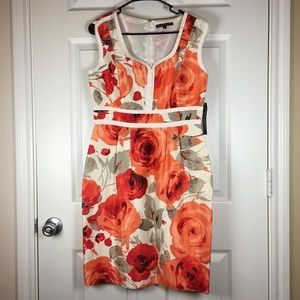 NWT Isabella DeMarco orange cream floral dress 8
